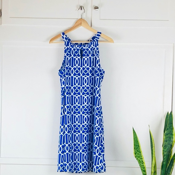 Jude Connally Dresses & Skirts - Jude Connally Blue and White Print Dress Size M
